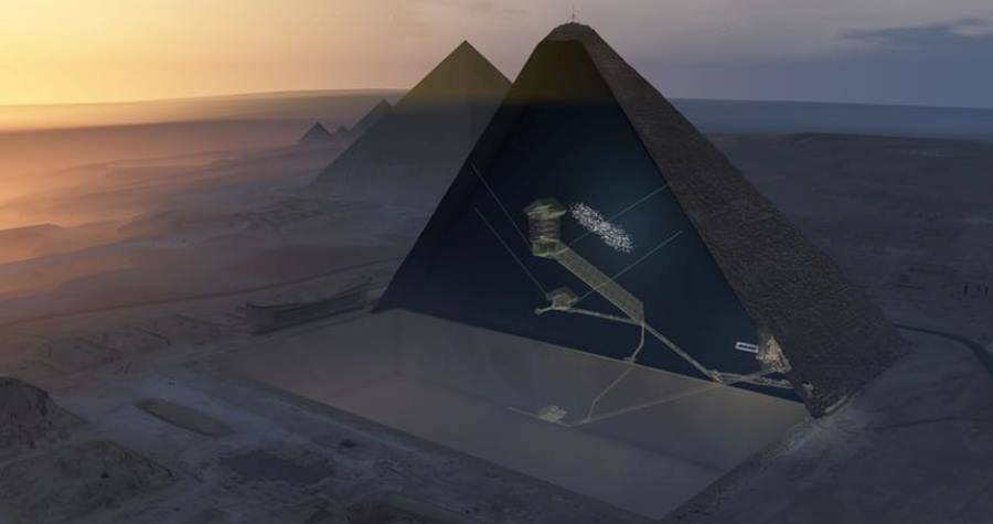 Aerial View Of Uncovered Chamber In Great Pyramid