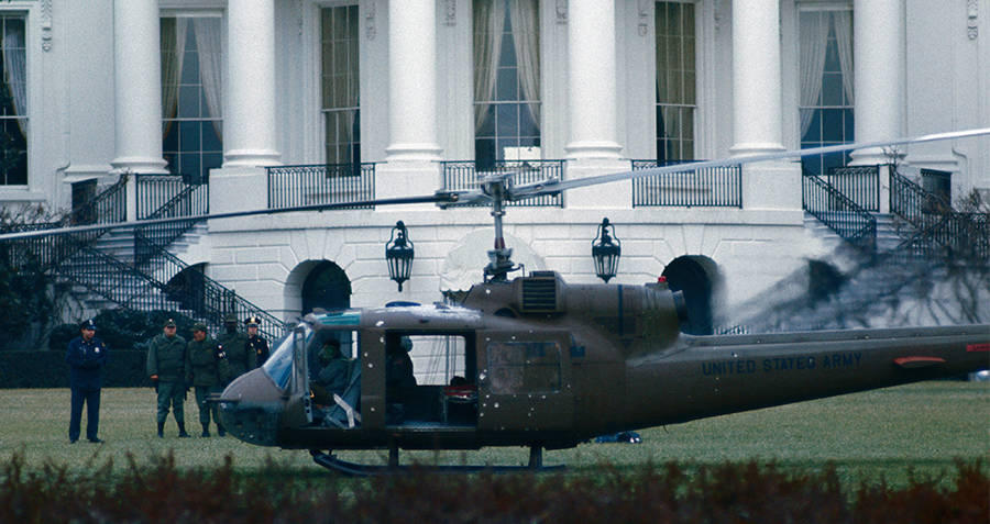 Robert Prestons Helicopter On The White House Lawn