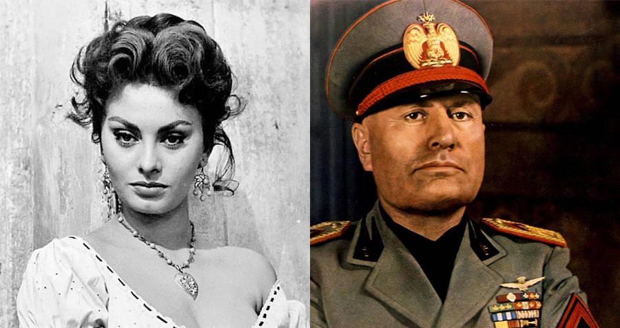 Sophia Loren and Benito Mussolini