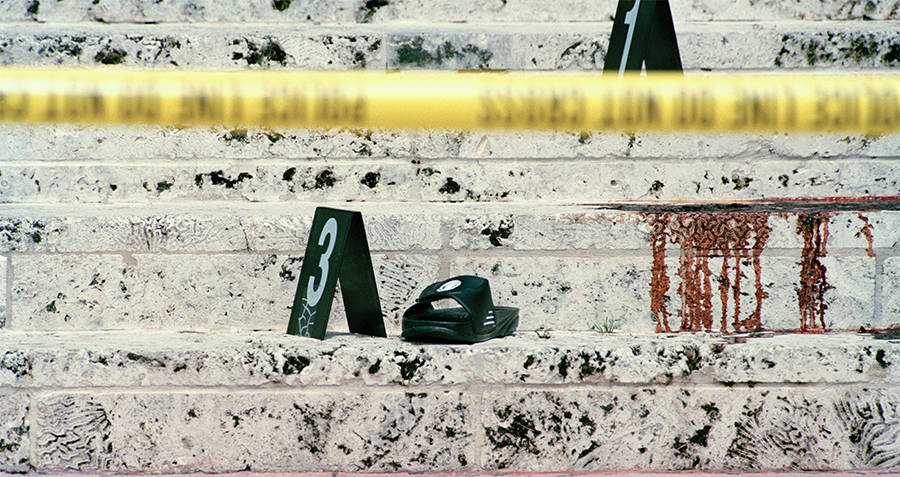 The crime scene of Versace's murder