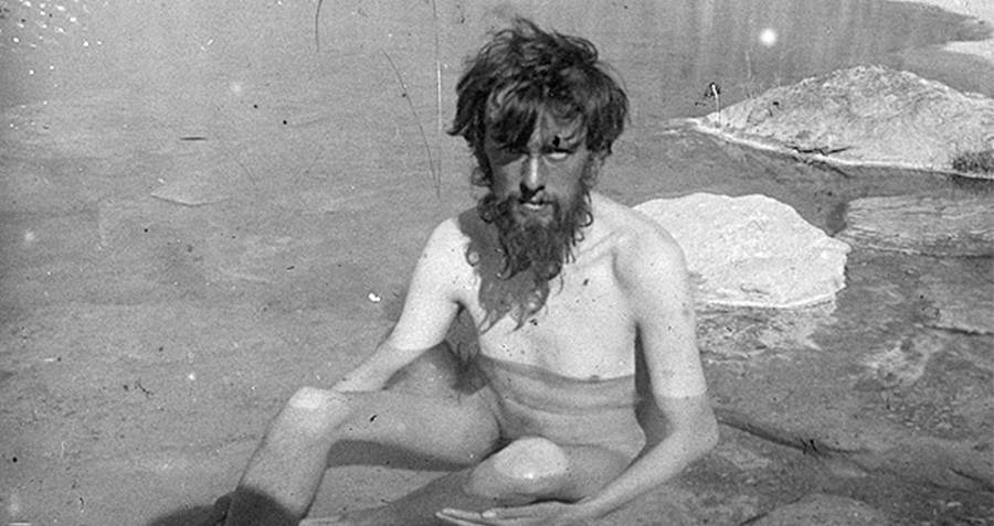 Aleister Crowley In A Pool Of Water After Mountain Climbing