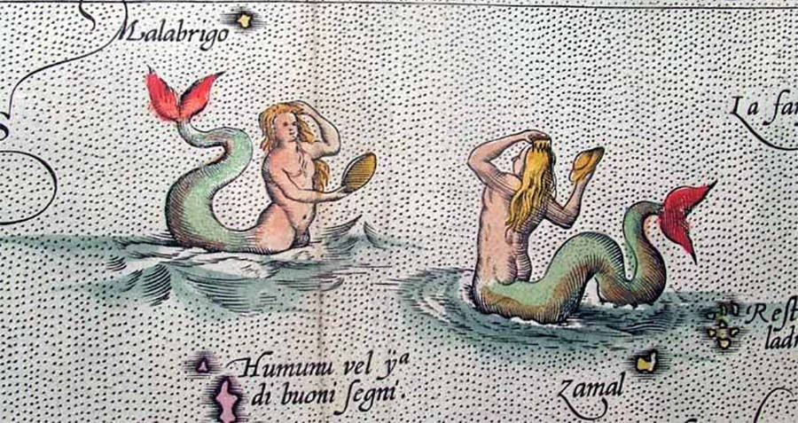 Mermaids On An Old Map
