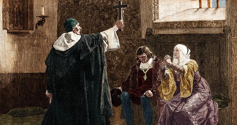 Torquemada Ferdinand Isabella Cross Praying