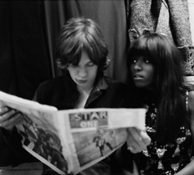 Ike and Tina Turner, Mick Jagger, and Claudia Lennear Backstage at